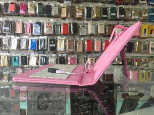 capa teclado p/ tablet 7 polegadas rosa v8 usb frete grátis