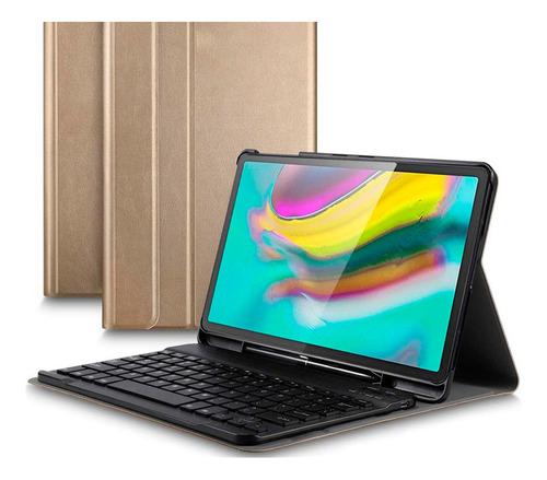 capa teclado samsung galaxy tab s5e 10.5 t720 t725 gold novo