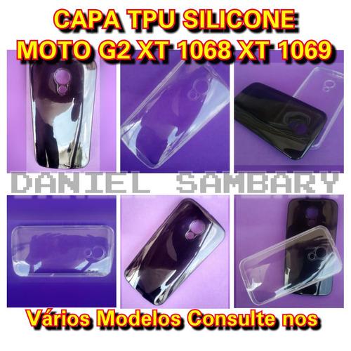 capa tpu para motorola moto g2 xt1068 xt1069 silicone fume