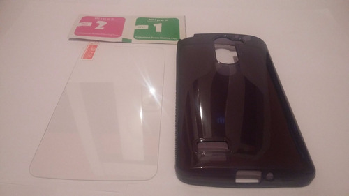 capa tpu transparente+ fumê lg l prime d337 + película vidro
