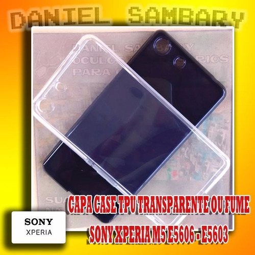 capa tpu transparente fume xperia m5 e5606 e5603+ pel. vidro