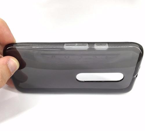 capa transparente & fumê moto g3 geração + película de vidro