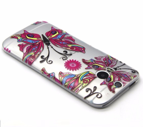 capa ultra fina gel tpu borboleta htc m8 one pelicula gratis