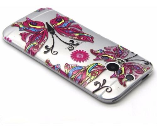 capa ultra fina tpu silicone borboleta htc m8 one pelicula