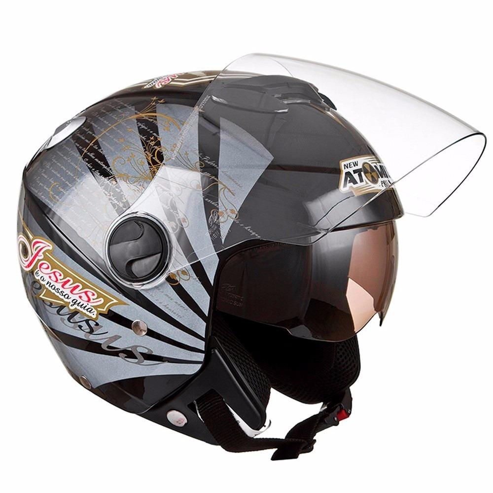 capacete aberto com viseira new atomic gospel preto 58. Carregando zoom. 17138da5296