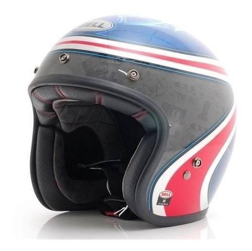 capacete aberto custom 500 airtrix heritage azul e vermelho