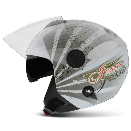 capacete aberto gospel salmo jesus new atomic pro tork moto