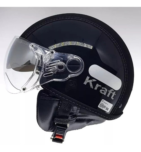 capacete aberto kraft semi preto custom harley drag shadow