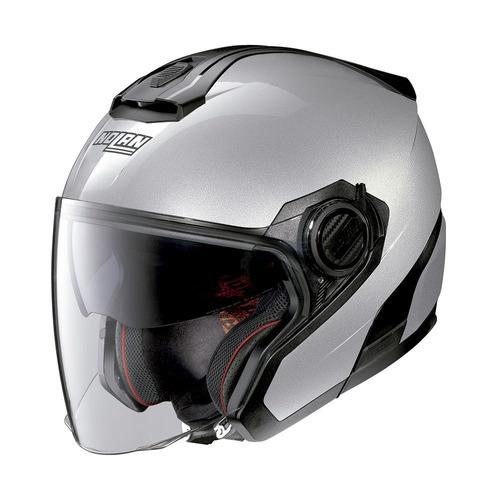 capacete aberto nolan n40-5 special prata c/ viseira solar