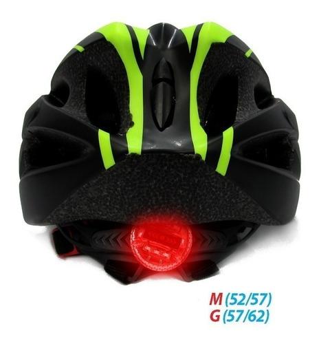 capacete absolute sinalizador led ciclismo bike nero preto