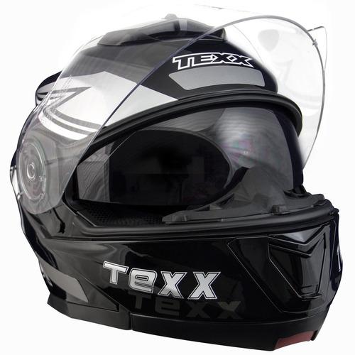 capacete articulado duas viseiras blitz texx gráfico preto