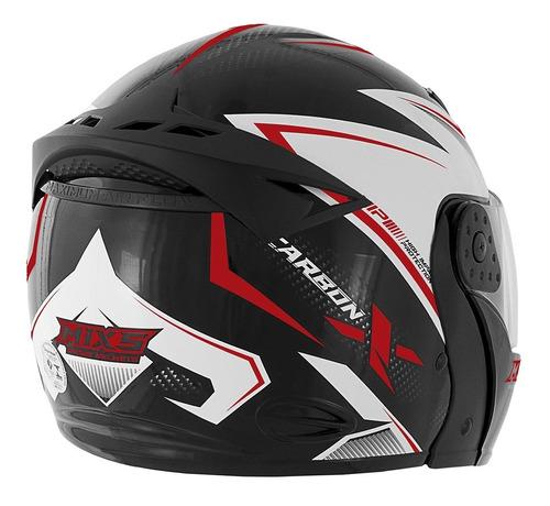 capacete articulado mixs gladiator carbon-x fosco/brilhante