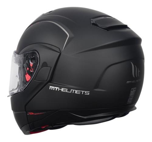 capacete articulado mt atom com viseira solar preto fosco