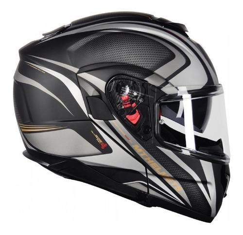 capacete articulado mt atom sx1 preto dourado fosco