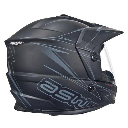 capacete asw dual 17 - preto fosco/cinza