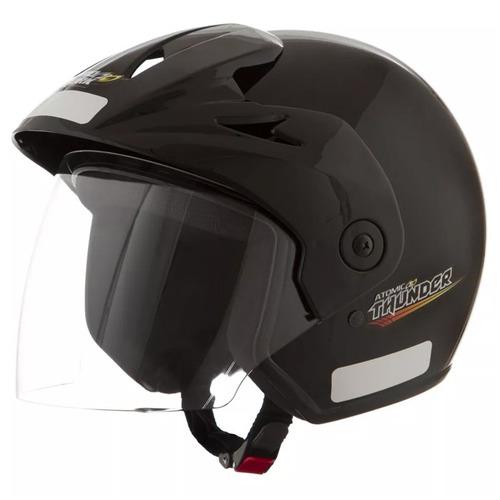 capacete atomic thunder brilhante preto | 58 pro tork - cap-