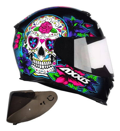capacete axxis by mt skull caveira azul + viseira extra