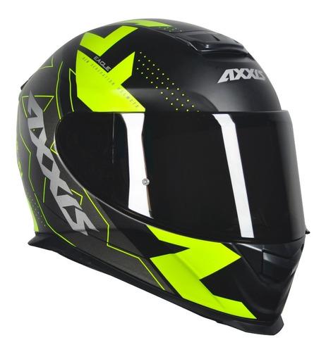 capacete axxis diagon preto amarelo + viseira fume extra