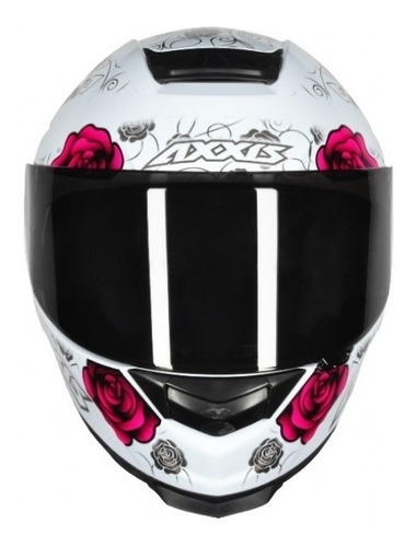 capacete axxis eagle flowers white-pink