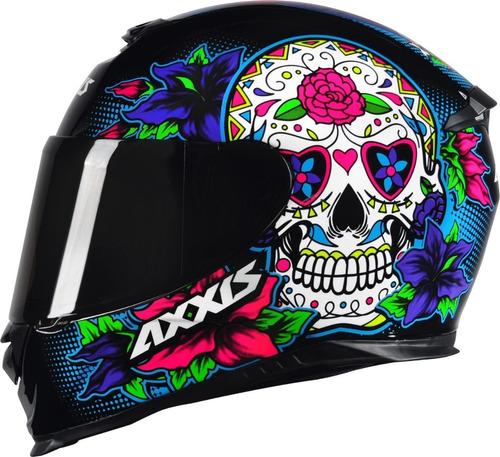 capacete axxis eagle skull caveira preto / azul by mt