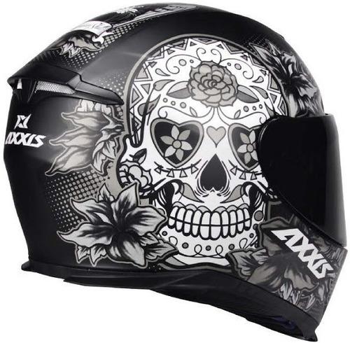 capacete axxis eagle skull caveira preto fosco cinza