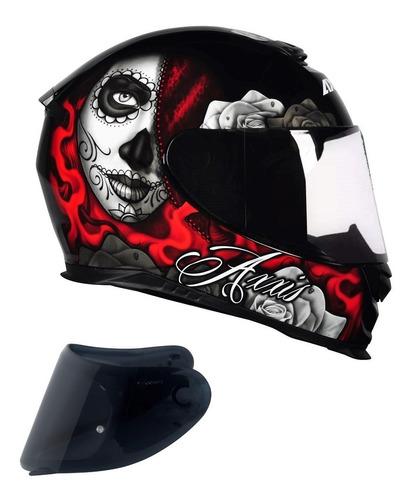 capacete axxis lady catrina vermelho + viseira fume extra