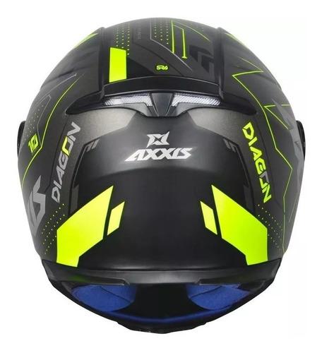 capacete axxis mt diagon preto fosco amarelo + viseira+touca