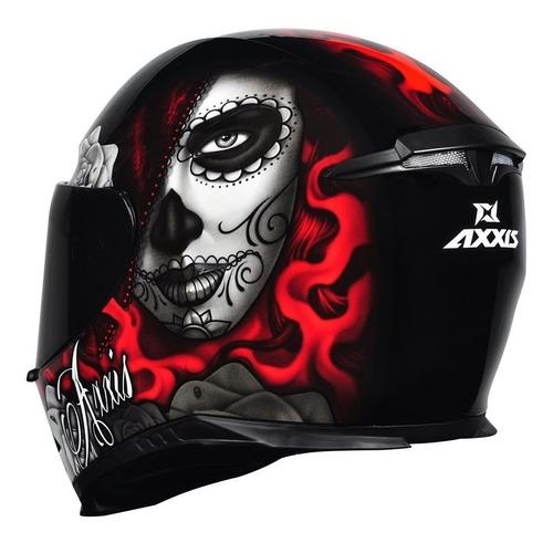 capacete axxis mt lady catrina preto vermelho