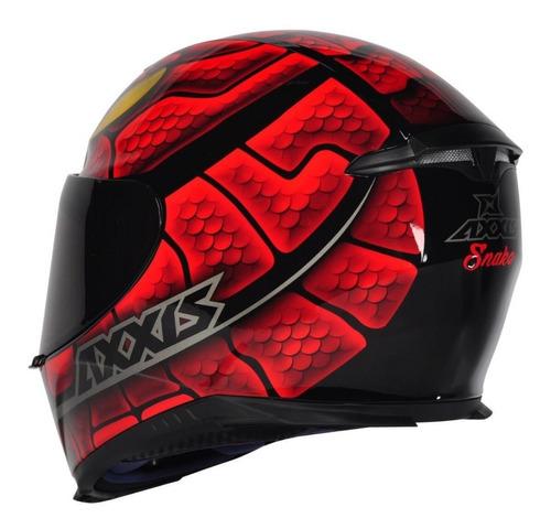 capacete axxis snake vermelho serpente + viseira camaleão
