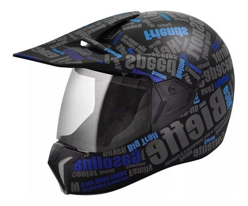 capacete bieffe 3 sport mirror cross enduro preto e azul