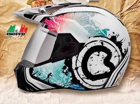 capacete bieffe 3 sport spring branco/azul mais brinde