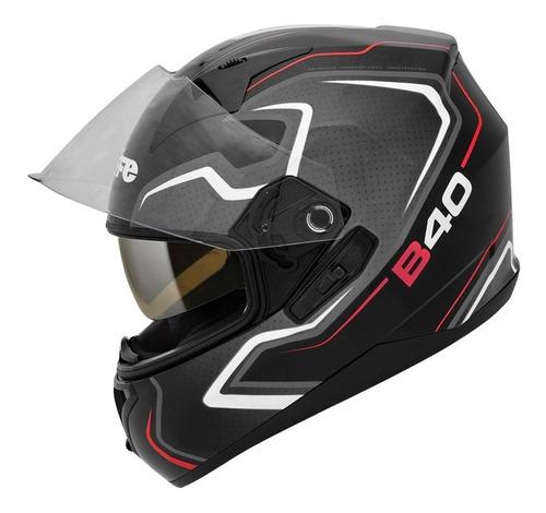 capacete bieffe b-40 tron preto fosco e cinza óculos interno