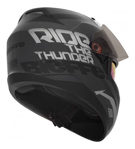 capacete bieffe b40 speed preto chumbo fosco prata