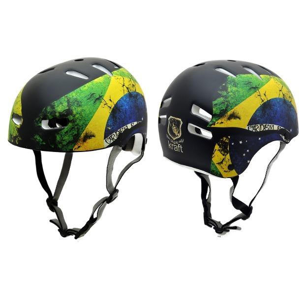 Capacete Para Bike Skate Patins Kraft Bandeiras -original - R  148 ... 813ef3aa63a