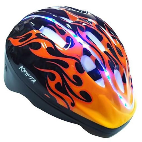 capacete bike kripta biaxs led usb amarelo fogo - kripta