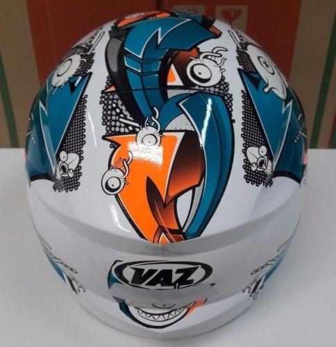 capacete branco vaz v19 grafit azul/laranja