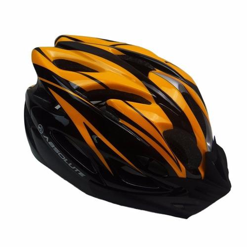 capacete ciclismo bike absolute nero wt012 led preto laranja