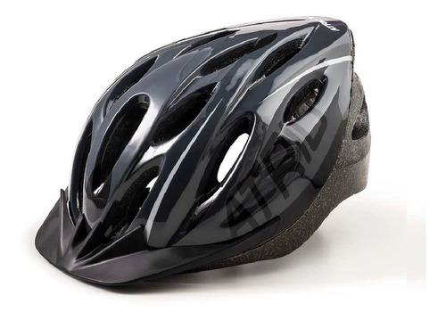 capacete ciclista mtb led atrio unissex cinza/ preto bike