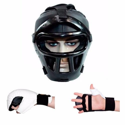 capacete com grade + luva de karate jugui