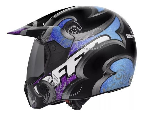capacete cross feminino bieffe 3 sport brave preto e magenta