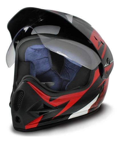 capacete cross trilha ebf super motard iron vermelho e preto