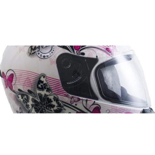 capacete ebf 56 feminino new spark borboleta branco rosa