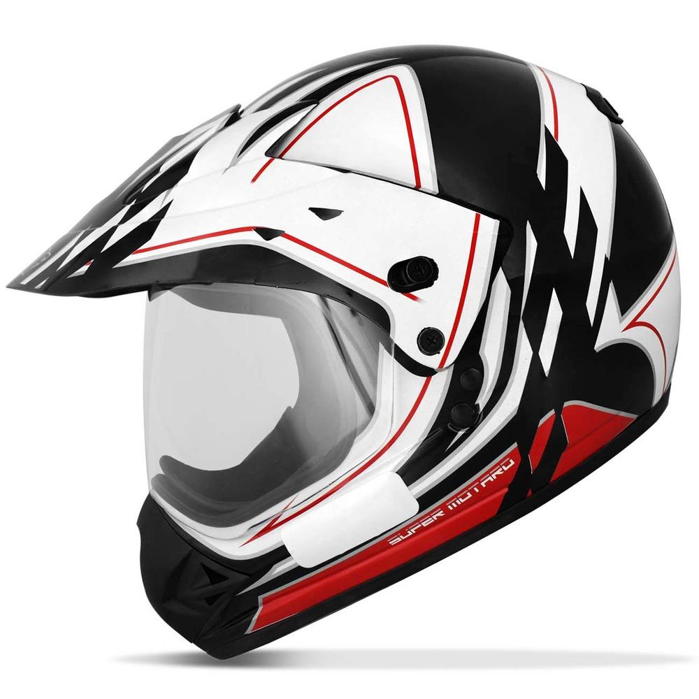 capacete ebf cross super motard gride com viseira branco. Carregando zoom. b5b8d24b86c