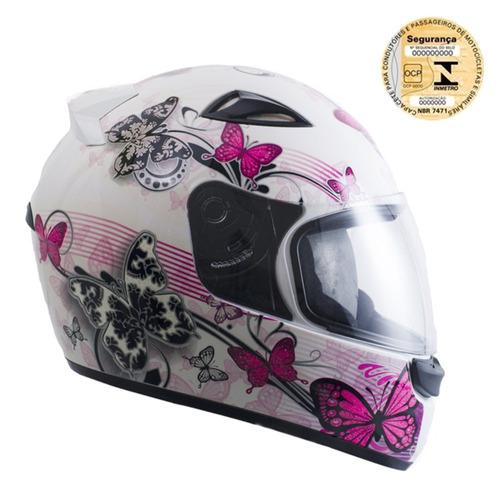 capacete ebf feminino new spark borboleta branco rosa b07