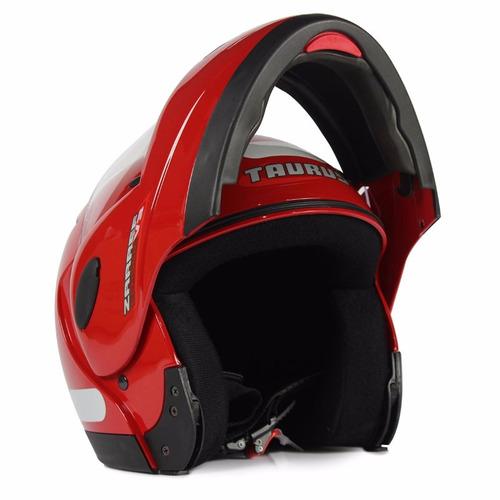 capacete escamoteável taurus zarref robocop vermelho tama 60