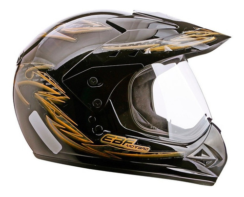 capacete esportivo marca ebf motard street cross dourado