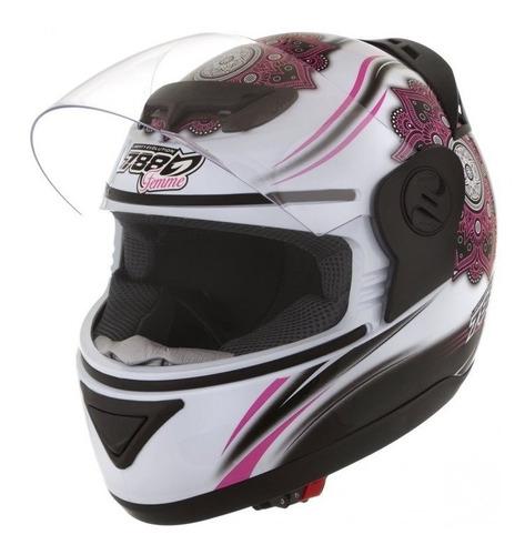 capacete evolution 5g feminino branco/rosa protork !!!!i