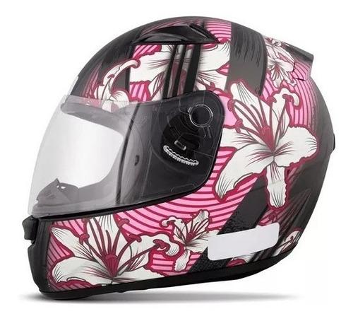 capacete fechado ebf e0x flowers feminino preto fosco e rosa