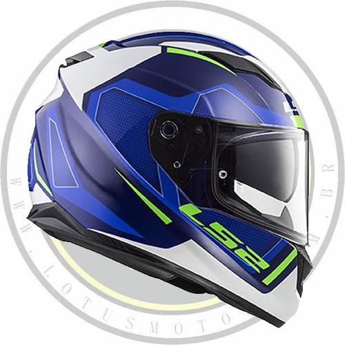 capacete fechado ls2 ff320 stream edge azul branco