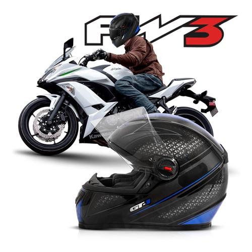 capacete fechado moto gt1 azul